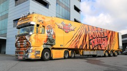 Scania R620 Show Truck Tiger at a Warehouse